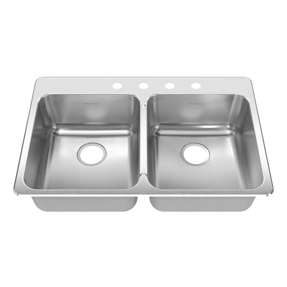 American Standard 17DB.332284.073 Prevoir 33.38-Inch Stainless Steel 4-Hole Topmount Double Bowl Kitchen Sink, Brushed Satin