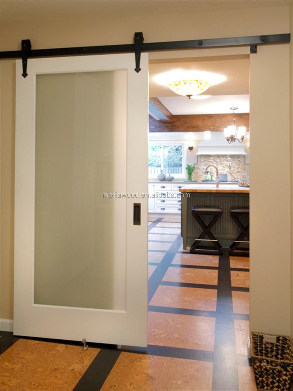 American Hotel Style Full Lite Interior Glazed Sliding Barn Door With Hardware