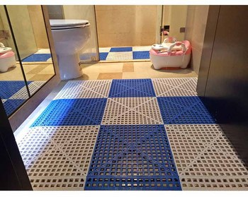 Fashinable Grid Drainage Bathroom Interlocking Plastic Floor Tiles