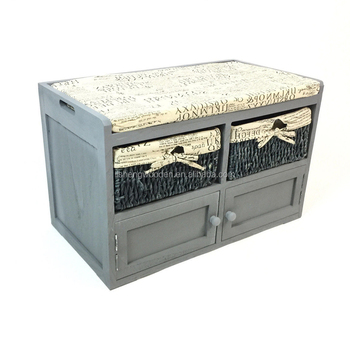 Otomana De Madera Almacenamiento Banco Con Cojín - Buy Product on ...