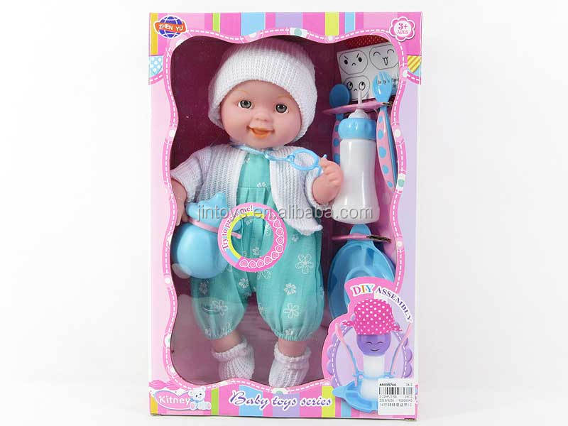 New prodcut 14 inch baby body suit 100% cotton doll boy toy with IC 14 sound, good quality doll for wholesale, AN015766