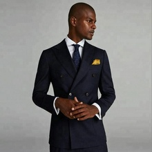 Designer pria wedding dress groom <span class=keywords><strong>gaun</strong></span> dua baris dari tombol jas biru