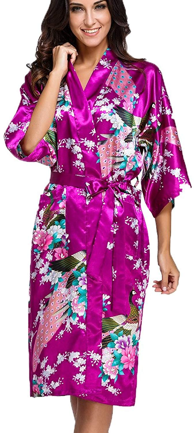1130a22089c Get Quotations · FLYCHEN Women s Long Kimono Robe Peacock Blossoms Bridal  Nightwear Satin