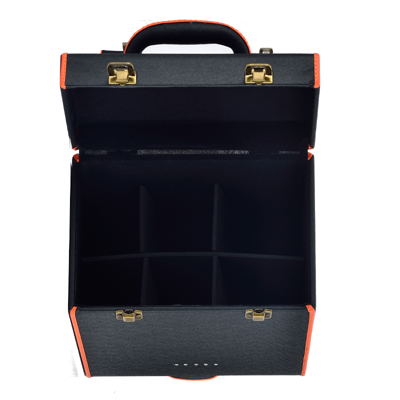 Large 6 bottles free sample 2018 new design diamond luxury PU wine box free custom packaging leather gift box