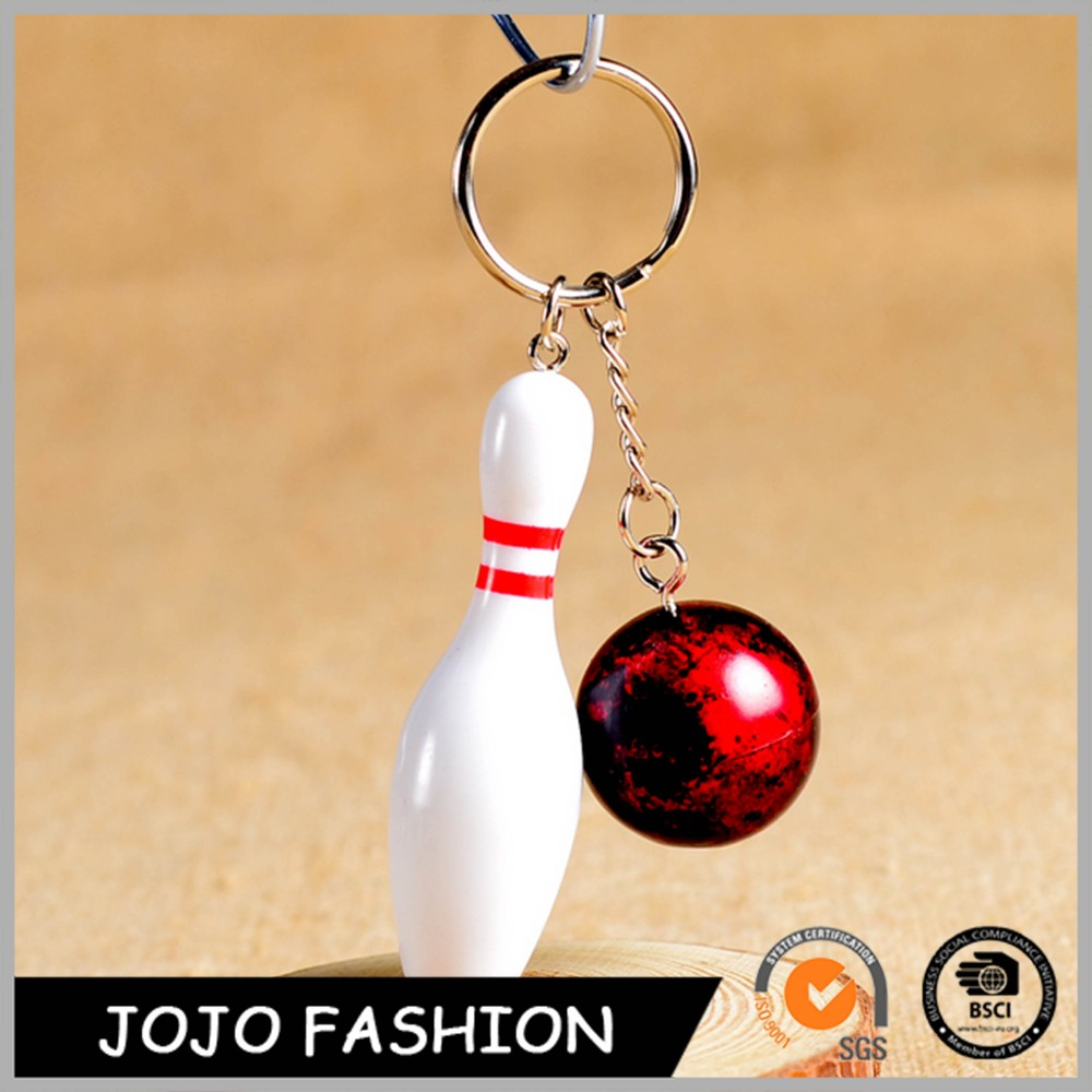 Custom bowling shaped acrylic keychain with colorful ball