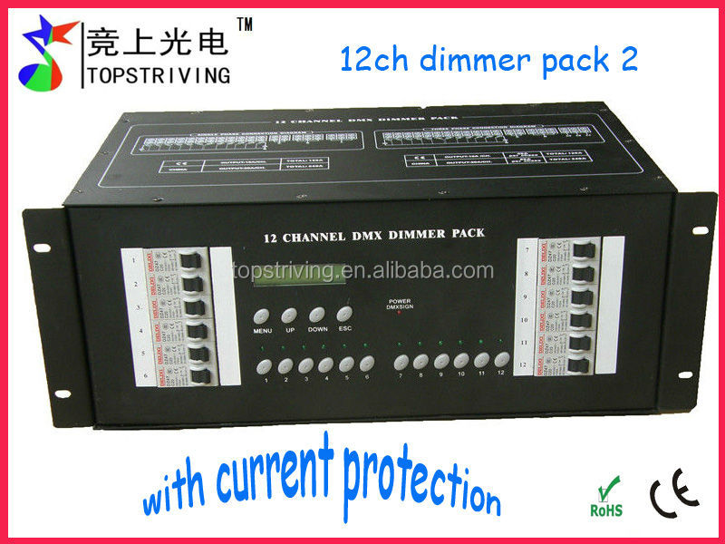 Topstriving lighting control 12 channel DMX dimmer pack with current protection