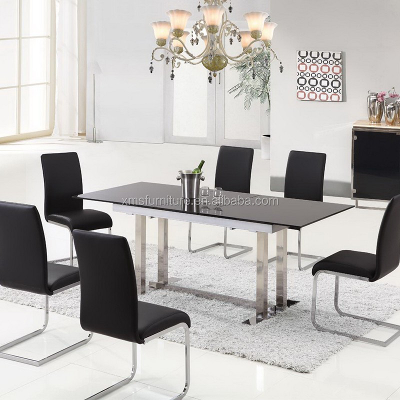 New Model Stainless Steel Dining Table Sets Luxury Tempered