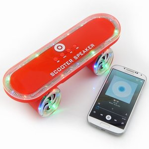 Scooter Wireless Speaker with Led Light Skateboard Stereo Speakers MP3 Player Support TF Card Handsfree Mobile Audio