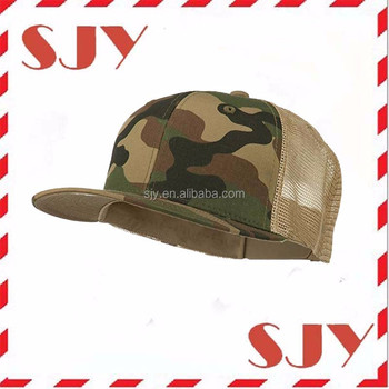 adf04fb54c37a Woodland Khaki Camo Flat Bill Trucker Mesh Cap Hat - Buy Flat Bill ...