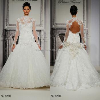 Gorgeous 2015 Lace Mermaid Wedding Dress High Neck Sheer Long Sleeve ...