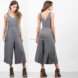 Women Latex Jumpsuits And Rompers 2017 Rayon Spandex V Neck Sleeveless Ribbed Culotte Evening Jumpsuits For Women 2017 Sexy