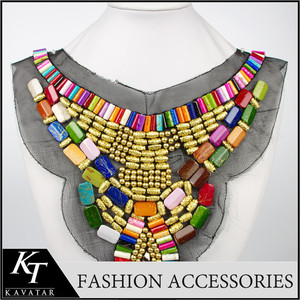 fashionable fabric ethnic style small colour beads handmade collar necklace