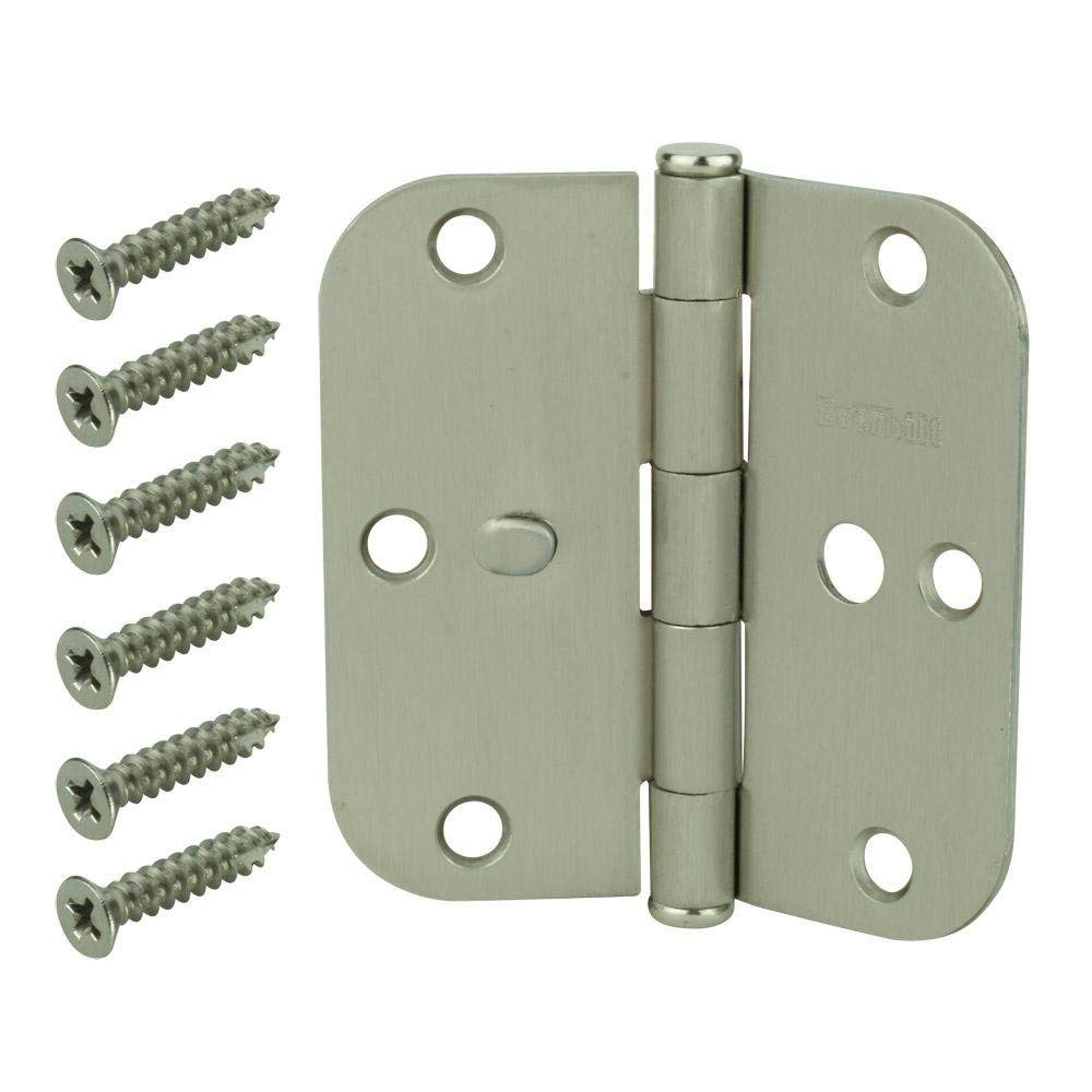 Everbilt (5-Pack) 3-1/2 in. Satin Nickel 5/8 in. Radius Security Door Hinges Value Pack (3-Pack)
