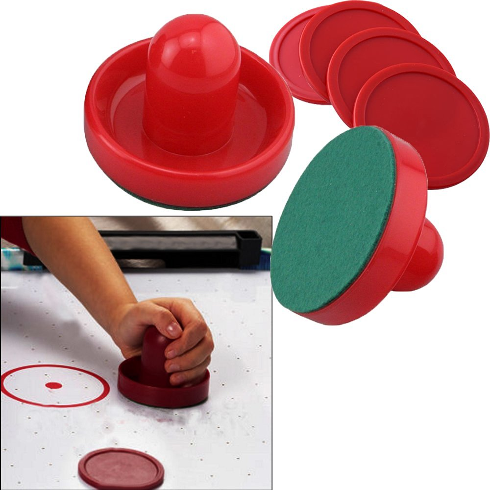 Toy Cubby Air Hockey Red Set Pushers and Pucks