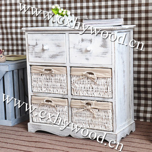 cabinet with drawers and willow baskets wooden furniture designs