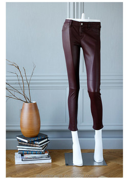 Girls Red Lambskin Leather Leggings Pants