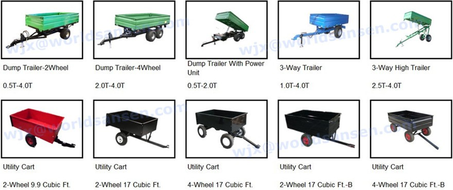 2 wheels tractor tipper trailers 1500Lb. Capacity 17cu Utility Dump Trailer for ATV, tractor trailer