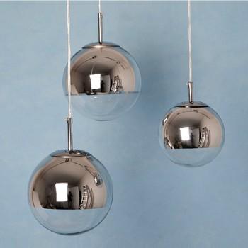 Modern Chrome Gl Ball Pendant Lights