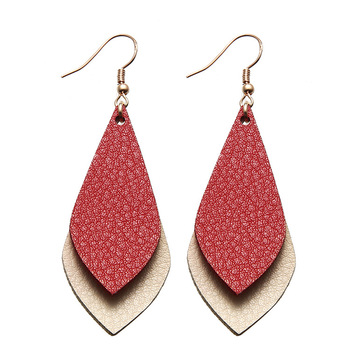 New Arrival Water Drop Shape Leather Hook Earrings Multi Color Available Double Layer Faux Leather Earrings For Girls