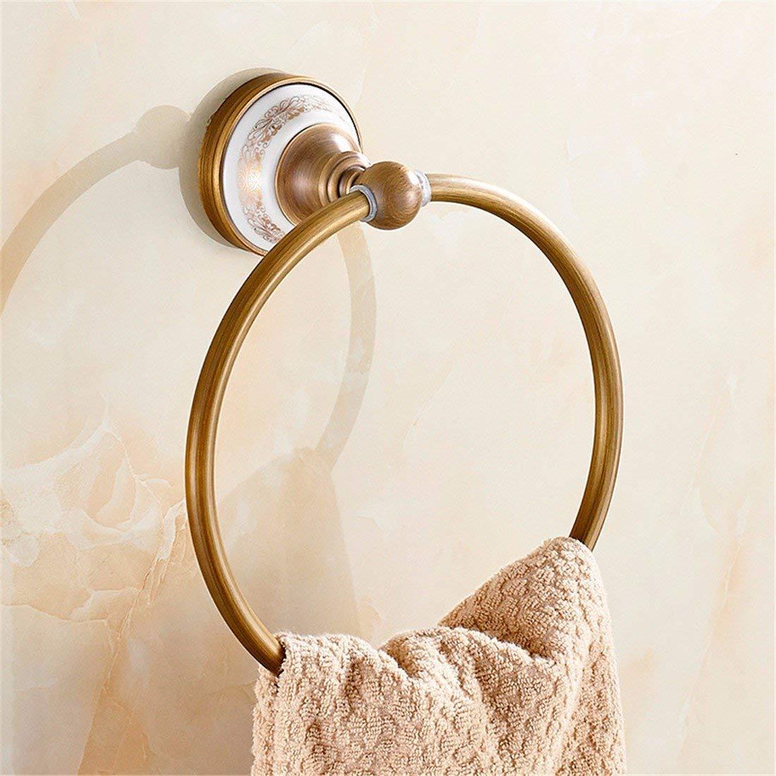 LAONA European style all copper antique drawing ceramic base, bathroom pendant set, toilet paper rack, towel rod,Towel ring