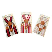 공장 Custom Unisex Red Stripe Clip-on 교정기 탄성 Y-백 Kids Suspender