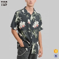 Custom men's shirts loose fit short sleeve full print design in orchid