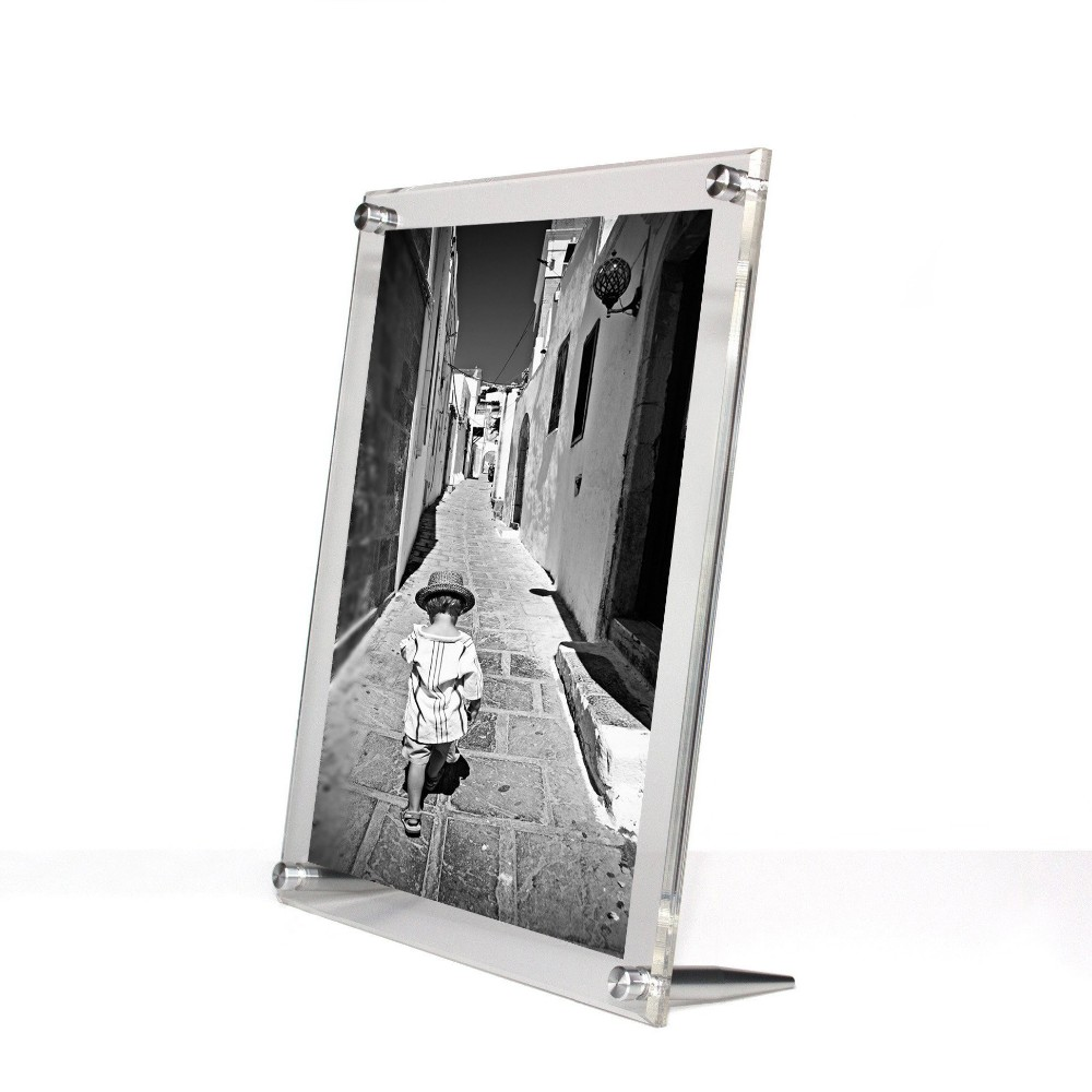 A3 DIY Beveled Acrylic Block Picture Frame Freestanding Acrylic Poster Frame