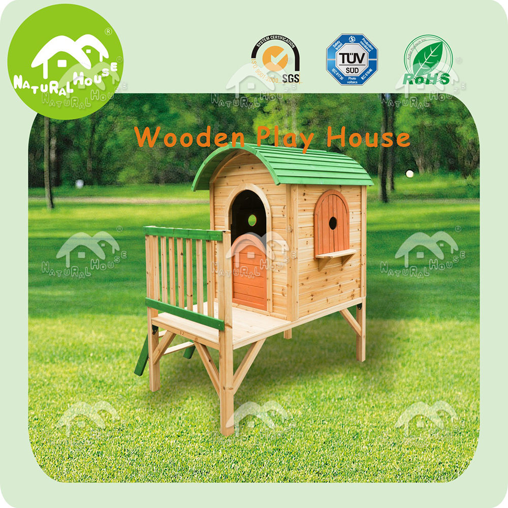 Wooden playhouse with slide, top quality