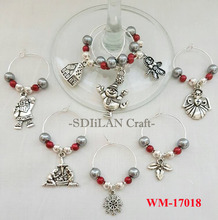 WM-17018 Luxury Christams Wine Glass Charms Hostess Gift Party Accessories Housewarming Gift Christmas Gifts Wine Markers
