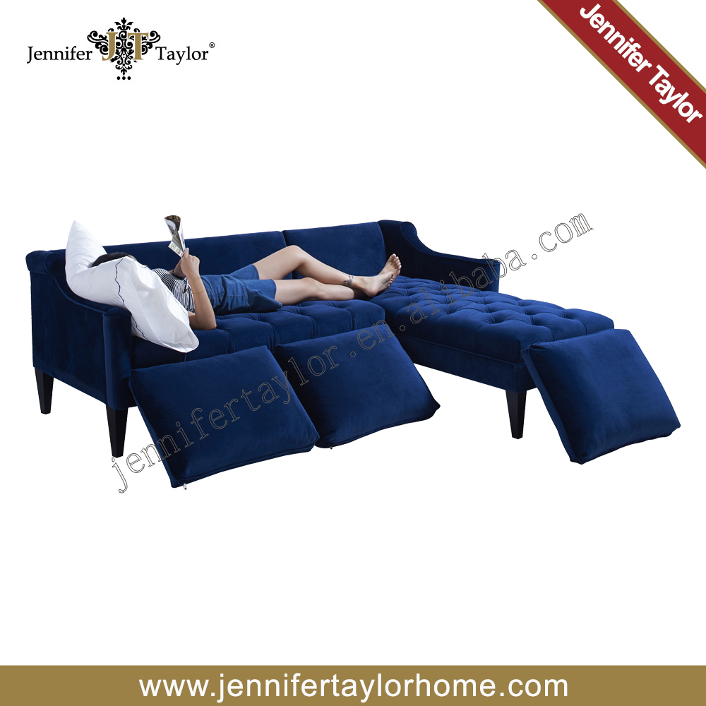 Most popular European style classic sofa blue fabric combination sofa