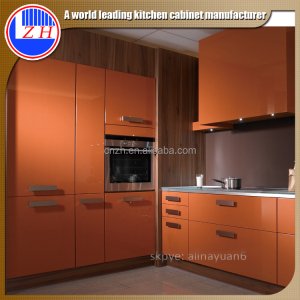 High gloss pvc corner skirting corner kitchen cabinet design for big kitchen