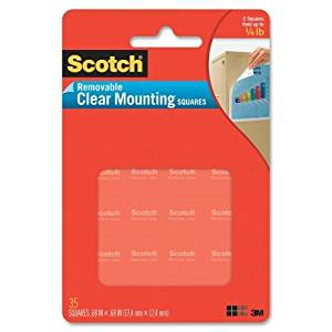Mounting Squares, Precut, Removable, 11/16 x 11/16, Clear, 35/Pack