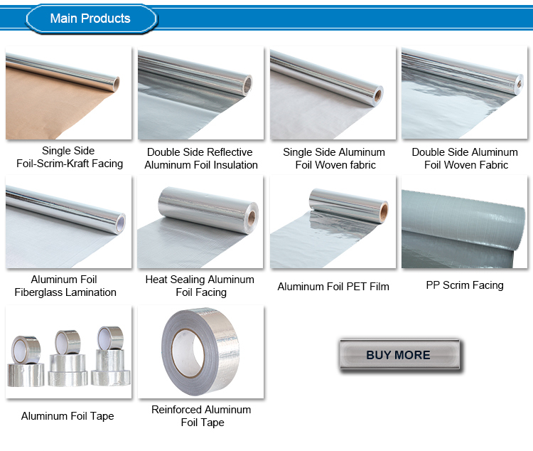 Aluminum foil and poly film insulation fsk facing for for Fireproof vapor barrier