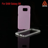 Contrast Color Rubber PC+TPU Thin Bumper Frame Case Cover for Samsung Galaxy S6