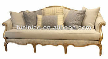 Queen Anne Living Room Furniture-3 Seat Sofa,Fabric And Solid Wood ...