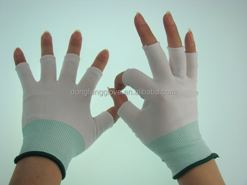 Electronics industry cheap price half finger white nylon gloves for ladies wear
