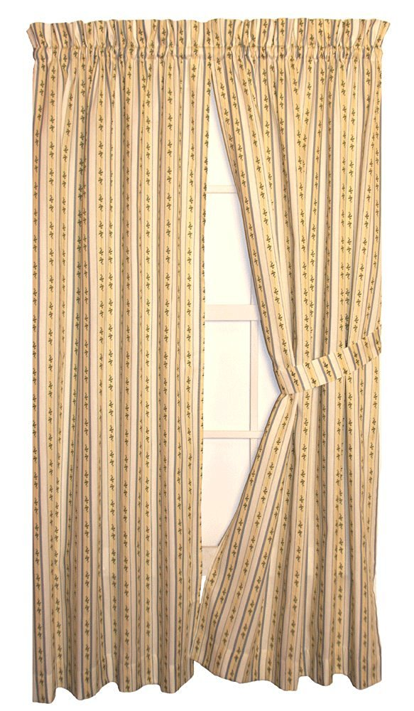 Cynthia Stripe Print Tailored Panels Curtains Pair 68-Inch-by-54-Inch With Tie Backs, Rose / Green