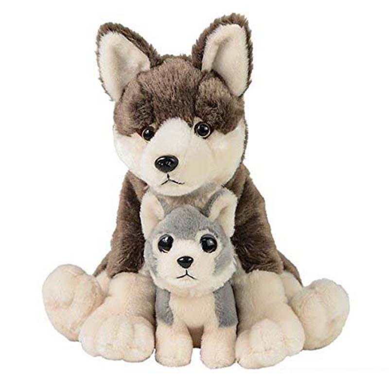 Realistic Wolf Plush Stuffed Animal Big Wolf With Baby Soft Toy