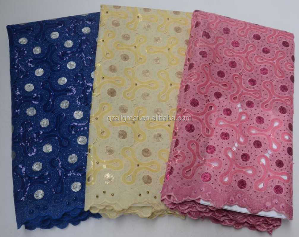 AG9049 African Nigerian Cord Lace French Lace Fabrics High Quality African Organza Lace Fabric With Sequins For Women