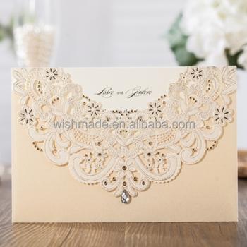 WISHMADE New Inviatation Design Laser Cut Wedding Invitation Card With  Hollow Flora Favors, Invitation Kit CW6115