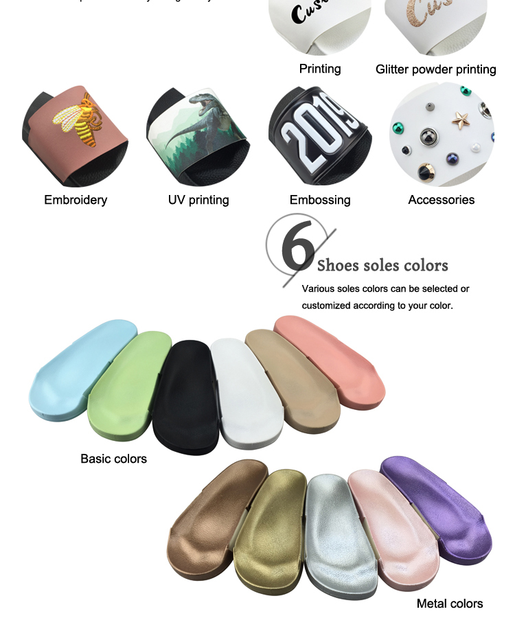 Woman Footwear PVC Printed Latest Design Custom Slider Slipper