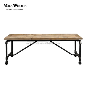 Industrial metal frame base wheeled live edge wood small dining table