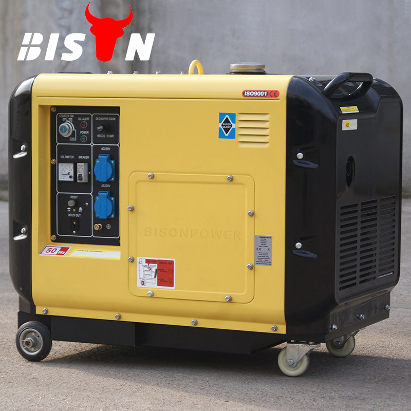 Bison China Zhejiang Air cooled 100% Copper 5KVA Three Phase Diesel Power Silent Generator 5 KW