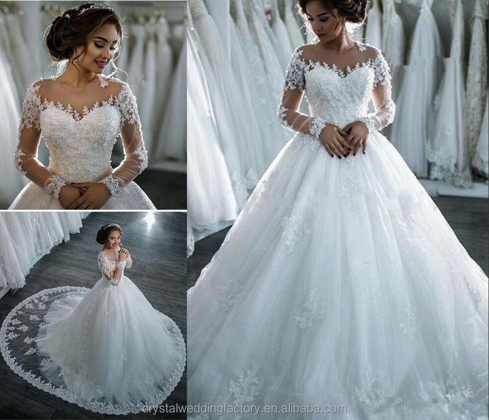 Nueva llegada vestido de novia de encaje 2017 robe romántico de ...