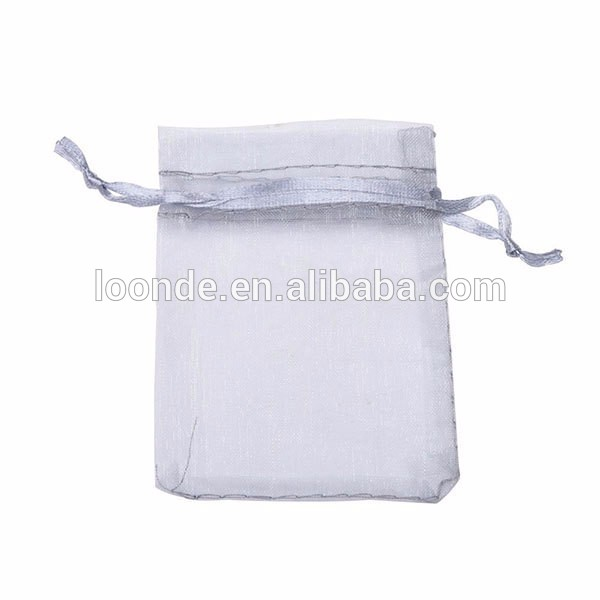 Cheap small silver chiffon organza jewelry gift pouch bag with drawstring
