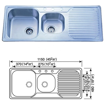 Double Bowl Stainless Steel Kitchen Sink With Drainboard Buy