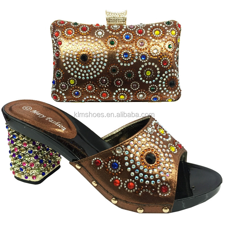 BL01-1B Unique brown high quality ladies high heel african party matching shoes and bags