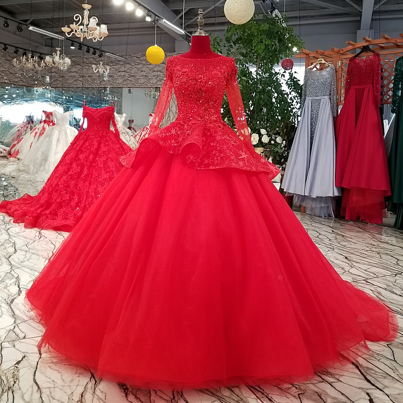 3111 Plus Size Wedding Dress Long Sleeve Light Red Beaded Puffy Long  Bridesmaid Bridal Dresses - Buy Red,Plus Size Wedding Dress,Bridal Dresses  ...