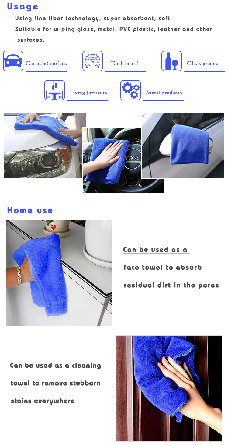 Customized Logo Promotional Microfiber cleaning Cloth Car Wash Towel