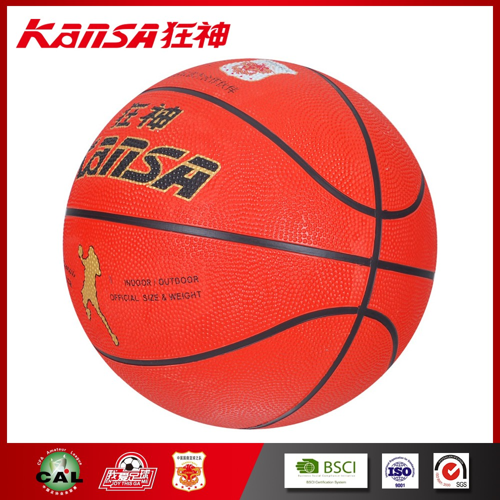Kansa-0760 Simple Style Logo Printing Portable Useful Top Rubber Ball Basketball